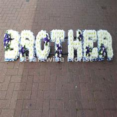 Brother Wreath Floral Letters With Clusters Funeral