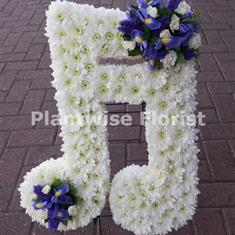 Double Musical Note Funeral Wreath Made In Flowers