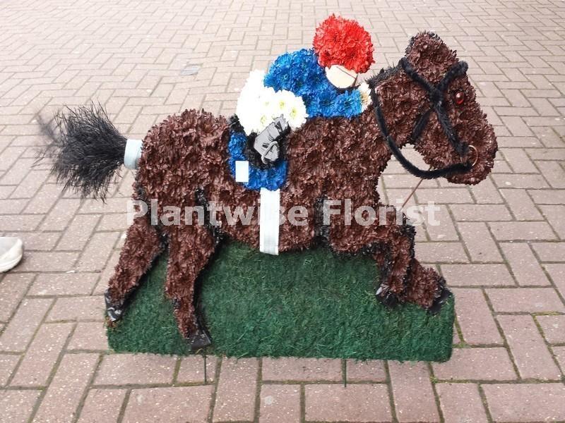 Race Horse And Jockey Funeral Flower Wreath Funeral