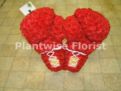 3d Red Boxing Gloves Made In Flowers Funeral Wreath