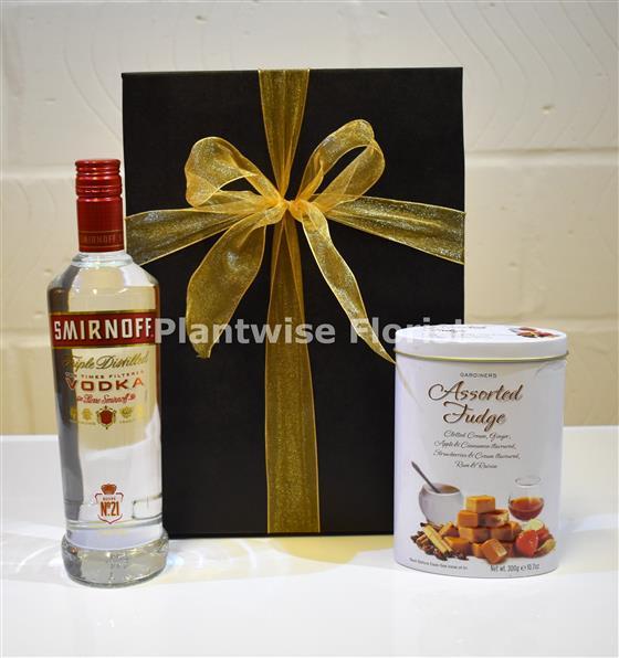 Vodka and Assorted Fudge Gift Box Hamper