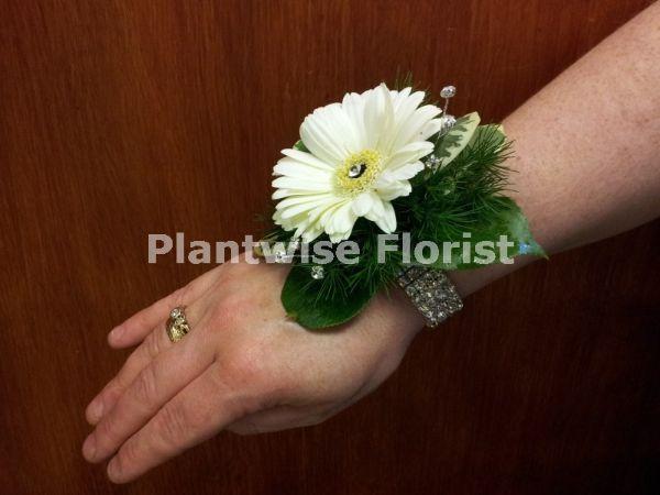 1a Fresh White Germini Wrist Corsage On Diamante Bracelet