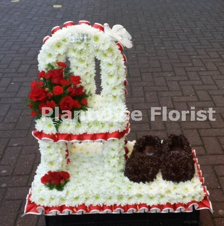 Vacant Chair With Slippers Funeral Wreath Funeral Flowers Canvey