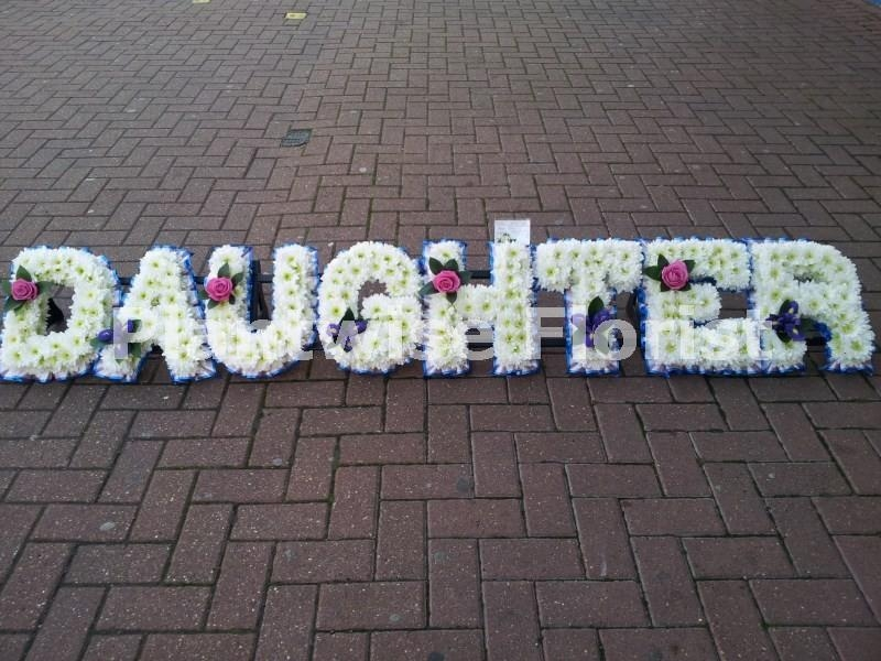 Daughter Floral Letter Wreath With Single Flower Funeral