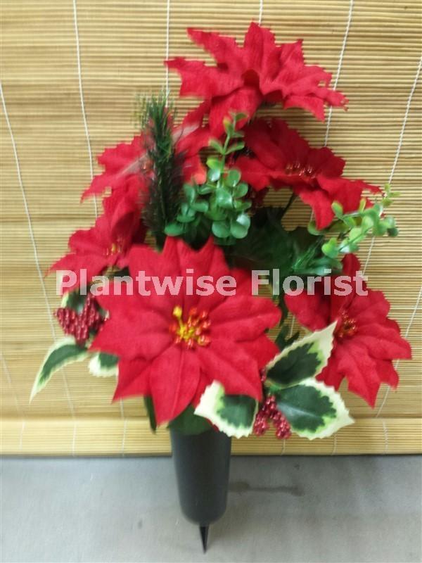 Christmas Silk Poinsettias Arrangement In Spiked Black Grave Vase