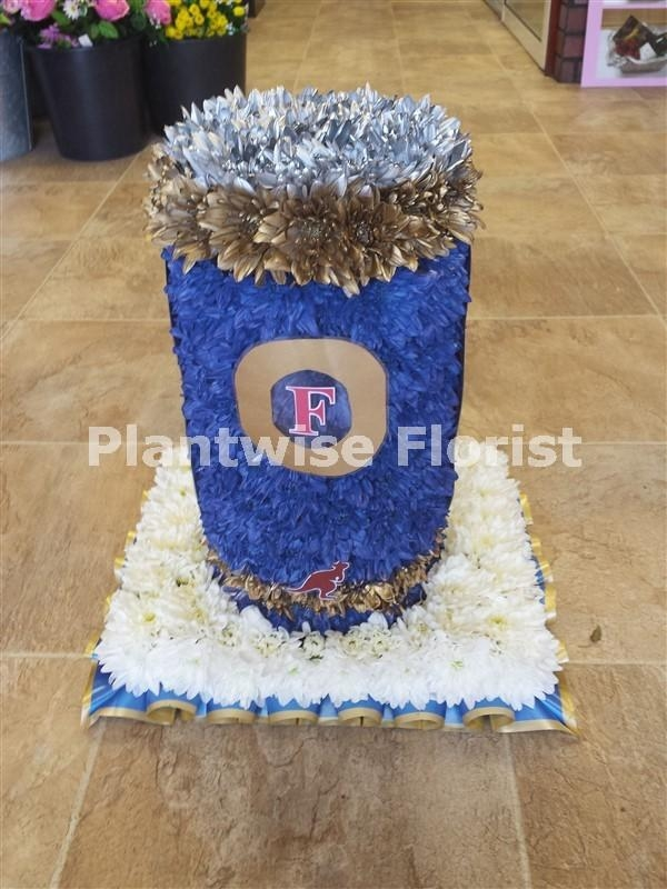 Fosters Beer Can 3d Made In Flowers For A Funeral Funeral Flowers