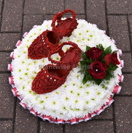 4c37c7f576541 Pair of Red Shoes Made in Flowers For Funeral Plantwise Florist